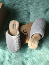 New UGG PEARLE CURLY CUE SHEEPSKIN SLIPPERS, WOMEN US Sz 7 Sky Blue Limited - £53.25 GBP