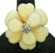 VTG Styled Gold Tone Faceted Peach Clear Rhinestone Cocktail Ring Size ... - $19.80