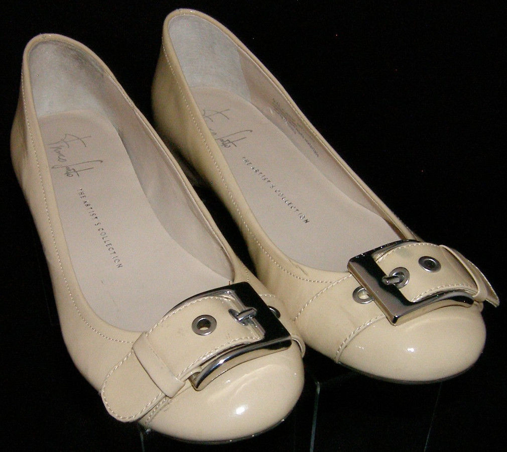 Franco Sarto 'Jesse' beige man made round toe buckle wedge flats 9N