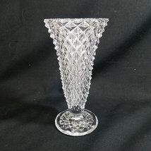 "Indiana Glass Diamond Point Clear Glass Vase 8"" Footed - $11.00"