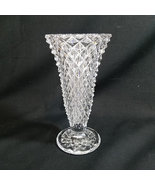 """Indiana Glass Diamond Point Clear Glass Vase 8"""" Footed - $11.00"""