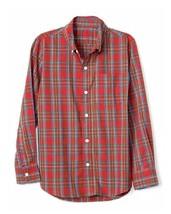 Gap Kids Boys Shirt 12 Red Plaid Long Sleeve Button Down Poplin Cotton New - $19.99