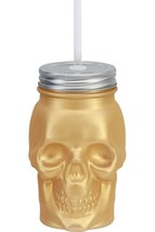Skull Sipper Mason Jar Gold Metallic Glass Silver Finish Lid w Straw Hal... - $4.90