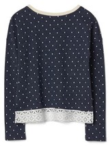 Gap Kids Girls Top 14 16 Navy Blue Polka Dot French Terry Long Sleeve Lace Trim image 2