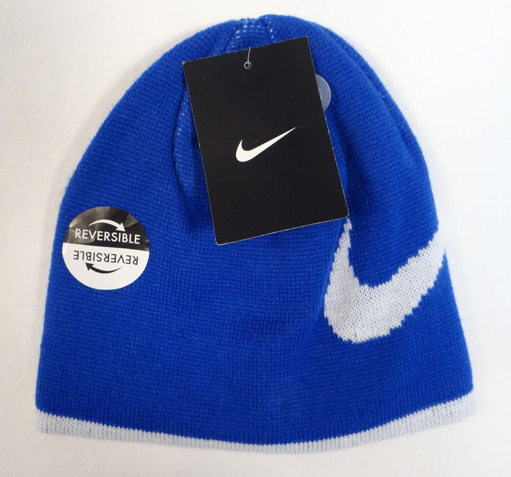 Boys Youth Nike Skull Cap Hat Beanie Blue Lime 8-20 NWT
