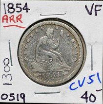 1854 A&R United States Seated Liberty Quarter Dollar 25¢ Coin Lot CV51