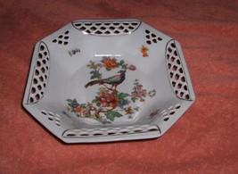 Vintage Schwarzenhammer China Reticulated Lace Pierced Octagon Basket Bo... - $34.65