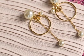 Authentic Christian Dior 2019 CD LOGO CIRCLE PEARL TRIBALES DANGLE DROP Earrings image 4