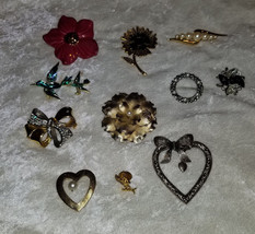Lot of vintage pins brooches flowers rhinestones sarah coventry faux  sold as is - $19.00