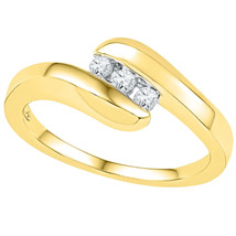 10k Yellow Gold Womens Round Diamond 3-stone Promise Bridal Ring 1/8 Cttw - £243.55 GBP