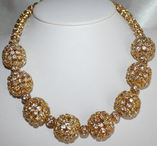 Large Chunky Gold Rhinestone Beaded Necklace, Gold Choker Wedding Statement - $90.00