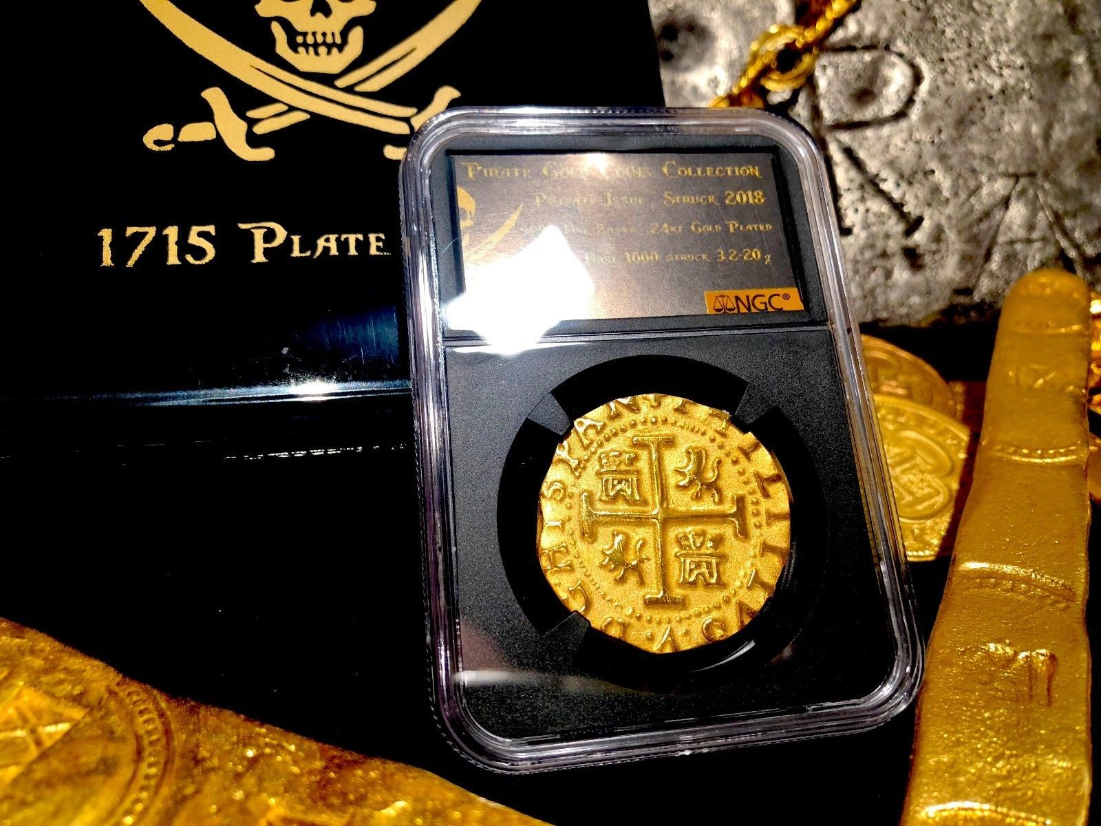 PERU 1708 8 ESCUDOS NGC PLATED 1715 SHIPWRECK PIRATE GOLD COINS TREASURE JEWELRY