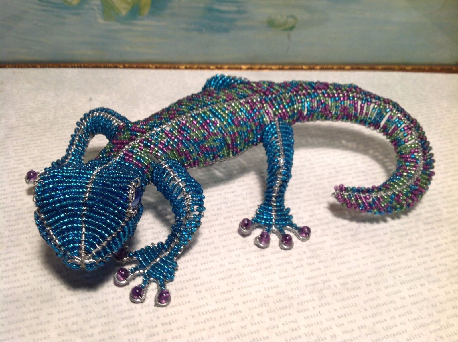 NEW Large Decorative Blue Beaded Gecko Figurine by Beadworx