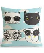 "Cartoon Cat ""Eye Glas Blue"" Cushion For Children Room Decoration  - $8.00"