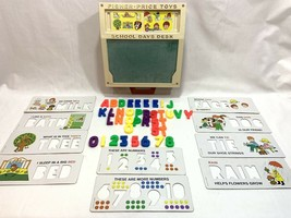 Vtg 1972 Fisher Price Toys School Days Play Desk #176 Stencils Numbers L... - $22.76