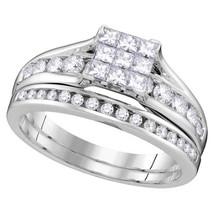 14kt White Gold Princess Diamond Bridal Wedding Engagement Ring Set 1.00 Ctw - $1,559.00