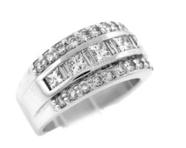 Exquisite Ladies Modern 14K White Gold 1.88ct Diamond Channel Invisible ... - $2,894.95