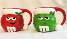 M&M Christmas Mugs Set of 2 24 oz Round Cup Mug Red Green M & M's Mars G... - $16.69