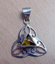 925 / 800 Silver Orange Baltic Amber Pendant(Hallmarked In The Uk) - $39.59
