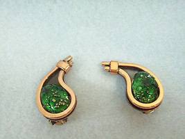 Matisse Renoir Copper Emerald GREEN Enamel Clip Earring Vintage Estate C... - $64.34