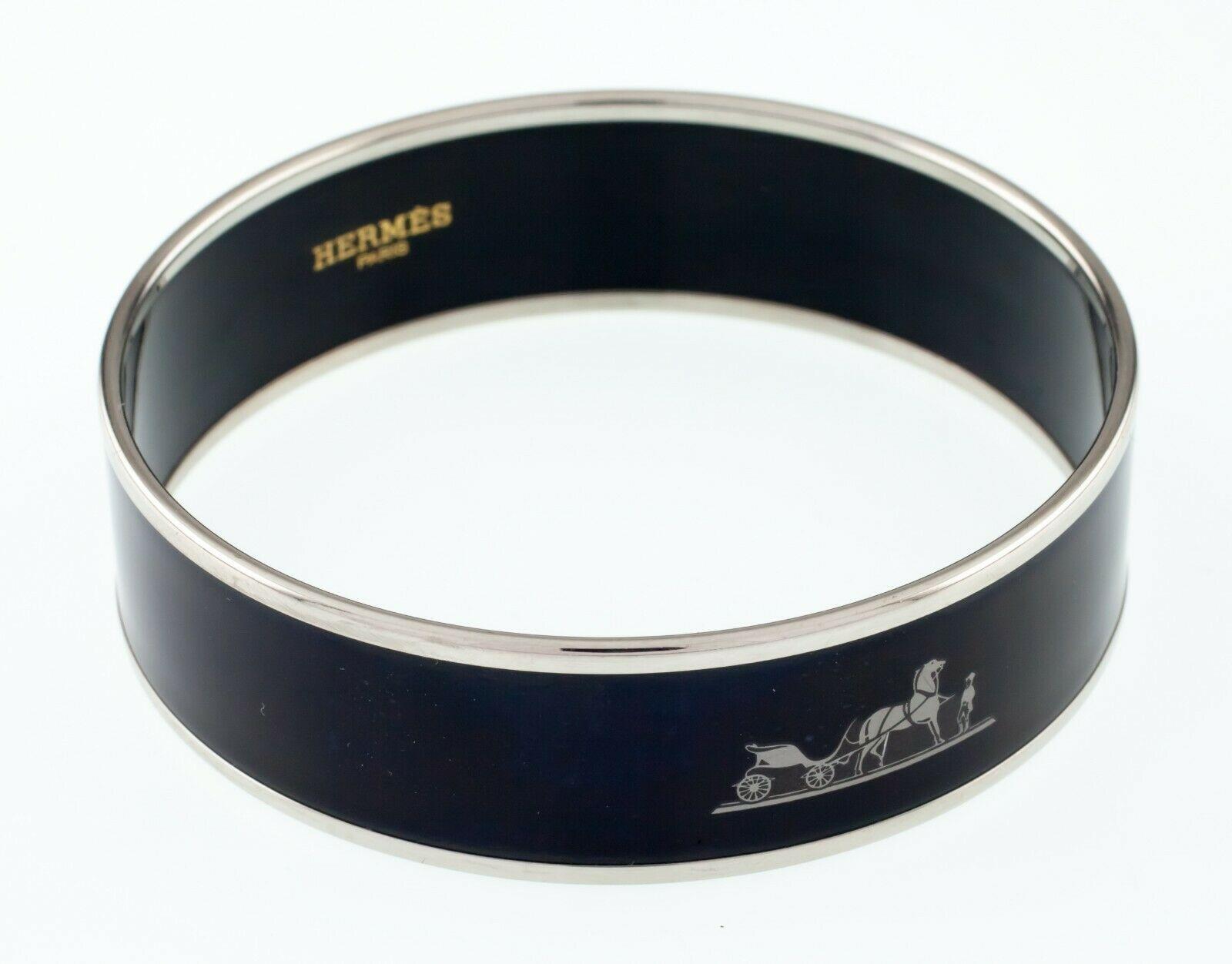 Hermès Esmalte Negro Caleche Brazalete 19mm Ancho Gorgeous! image 4