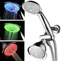 Premium Luminex by PowerSpa 7-Color 24-Setting LED Shower Head Combo 4... - $51.41