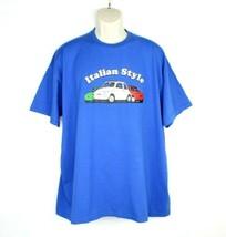 Italian Style Mens Vintage T Shirt Size 2xl Royal Blue Cars Fruit of Loom - $23.36
