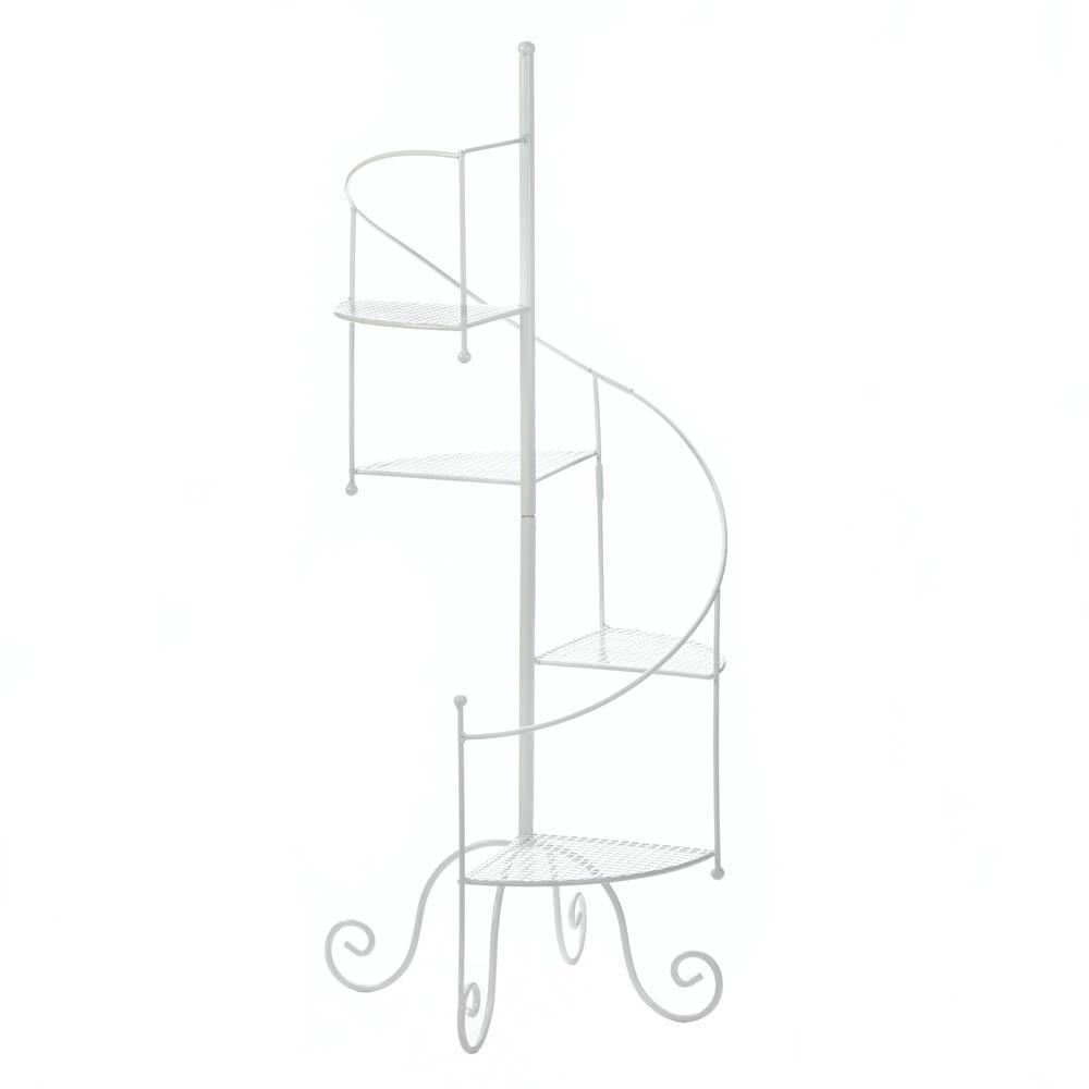 White spiral showcase plant stand