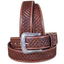 U-8-36 36 Inch M&F Western Nocona Leather Mens Belt Tooled Square Weave Copper - $59.95
