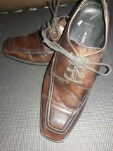 Alfani Brown Moc Toe Leather Loafer Lace up Mens Dress Shoes Size 10 U.S... - $23.56