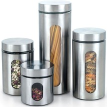 Stainless Steel 4 PC Canister Set Kitchen Count... - $39.00