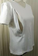 Breastfeeding Nursing White Tunic V- Neck Size L Shirt ZIP To Feed Style... - $9.49