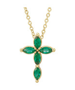 """Chatham® Created Marquise Emerald Cross 16-18"""" Necklace In 14K Yellow Gold - $296.99"""