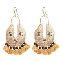 LGZH Bohemia Brown Tassel Drop Earrings For Women Antique Gold Color Lon... - $11.38
