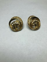 Vintage Costume Jewelry Earrings Round Wrap Around Desing Gold Tone - $9.59