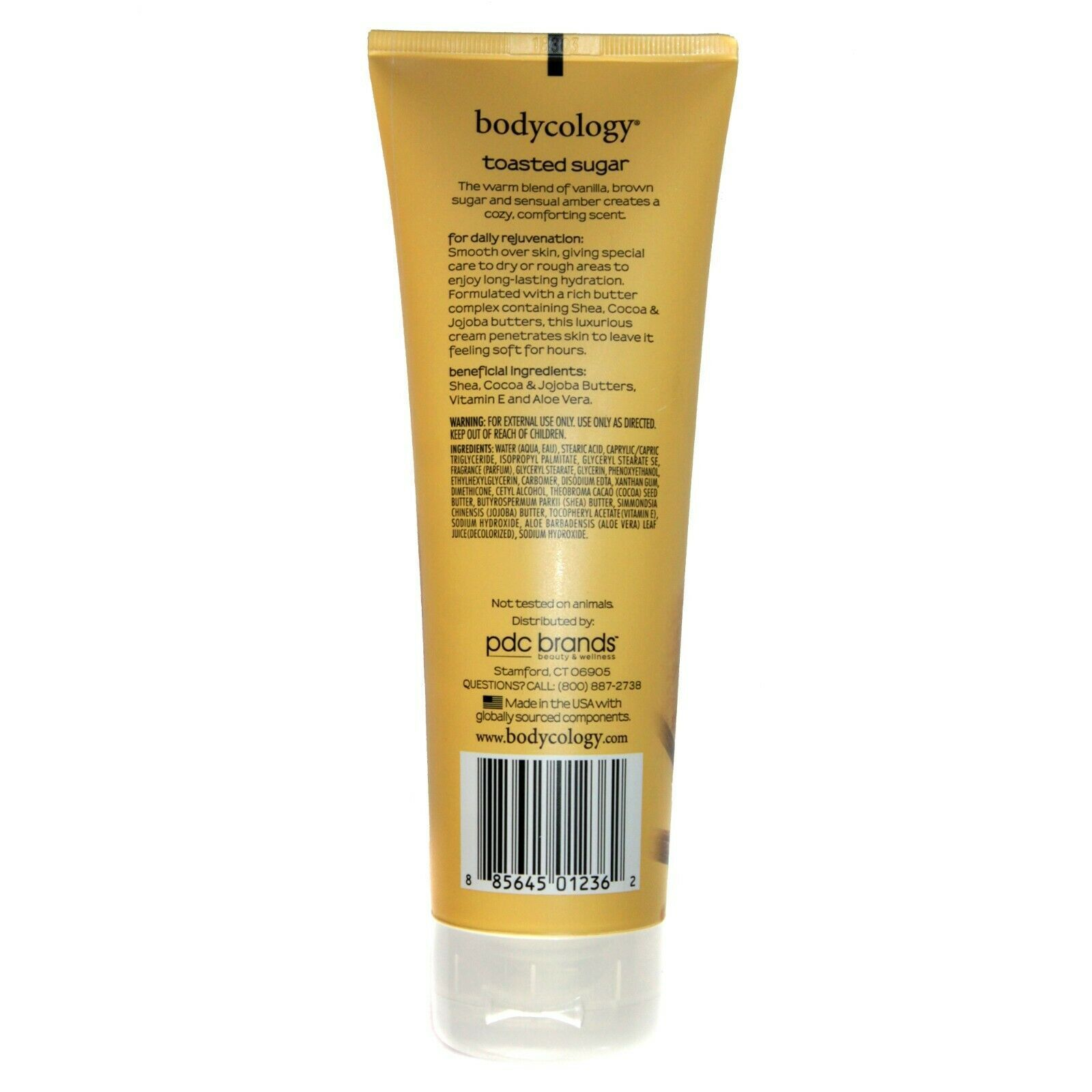 BODYCOLOGY* 8 oz Tube TOASTED SUGAR Moisturizing BODY CREAM Rich Butter Complex