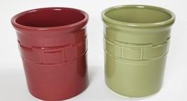 "Longaberger Pottery Woven Traditions Red Green 1 Quart Utensil Crocks 7"" - $79.99"