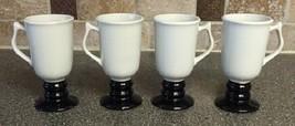 1273 Hall Pottery Irish Pedestal Mug White Black SET OF 4 - $28.04