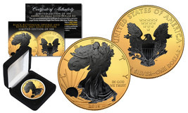 2016 1 oz .999 Silver American Eagle US Coin 24K Gold Gilded w/ Black Ru... - $65.41