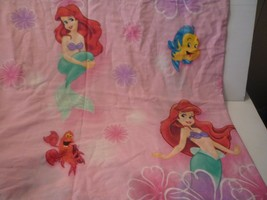 Vintage 90s Disney's Little Mermaid Twin Flat Sheet Bed Ariel Sebastian ... - $11.88