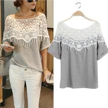 Hollow Out Lace Cutout Women Crochet Cape Collar Batwing Sleeve Tops T-shirt