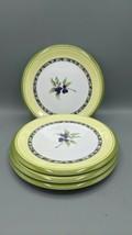 4 Royal Doulton CARMINA Melamine  Salad Plates Olives Green Blue Yellow ... - $29.69