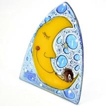Fused Art Glass Hedgehog Sleeping on Moon Design Night Light Handmade in Ecuador image 2