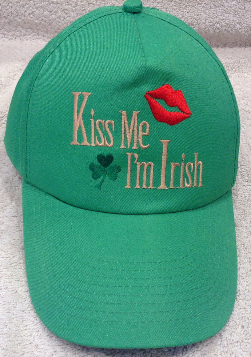 Kiss Me I'm Irish Green St. Patricks Day Good Luck Clover Lips Adj Ball Cap Hat.