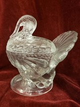 Vintage Turkey Heavy Clear Glass Candy Dish 2 Piece Covered Dish Bowl - $29.69
