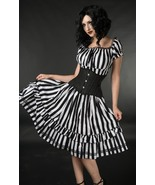 NWT Black White Striped Gothic Rockabilly Pirate Corset Dress - $71.00