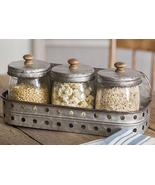 Three Glass Canisters with Storage Bin - $54.95