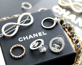 Authentic Chanel CHANEL 2017 Large Crystal CC Logo Circle Earrings -Gorgeous! image 5