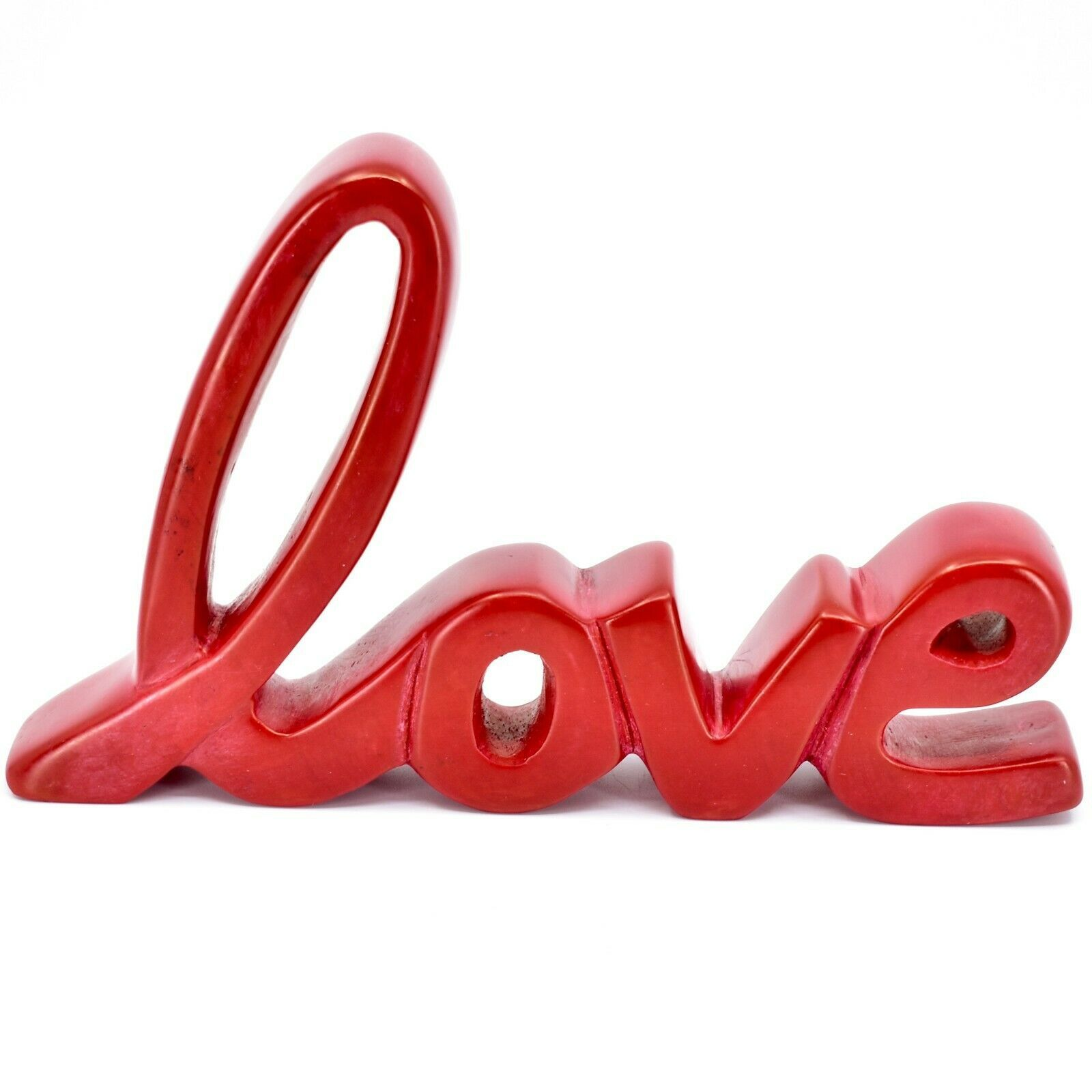 Vaneal Group Hand Carved Soapstone Red Love Free-Standing Cursive Word Sign
