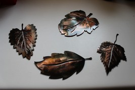 Metal Wall Art Leafs (4) Small COPPER/BRONZE Plated By Hgmw - $19.99